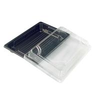 Bandeja preta Sushi com tampa transparente. 300ml 188x135mm H37mm