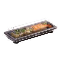 Bandeja preta Sushi com tampa 0ml   H40mm