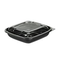 Saladeira quadrada PET preta com tampa transparente 750ml 190x190mm H45mm