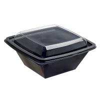 Saladeira quadrada RPET preta com tampa transparente 750ml 160x160mm H70mm