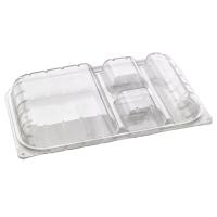 Recipiente retangular transparente 4-compartimentos com tampa transparente  330x210mm H50mm
