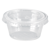 Clear round PP plastic portion cup with flat PET lid 100ml Ø70mm  H37mm