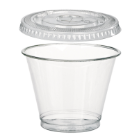Clear PET plastic cup with flat lid 270ml Ø92mm  H72mm