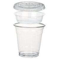 Clear PET plastic cup with flat lid and insert 325ml Ø92mm  H92mm