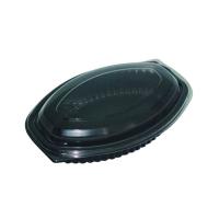 Embalagem oval preta PP. 500ml 207x143mm H37mm