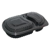 Embalagem dois compartimentos preta PP. 780ml 235x145mm H40mm
