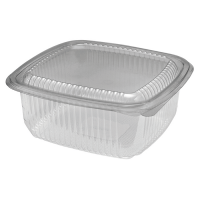 Square clear PET box with hinged lid 0ml   H75mm