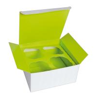 Caixa de papelão cupcake, suporte verde (4 unidades)  170x170mm H85mm