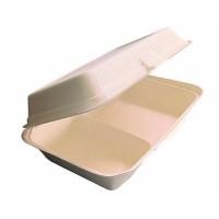 Embalagem com 2 compartimentos de cana de açúcar 1000ml 245x165mm H65mm