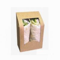 Caixa marrom para sanduiches enrolados com janela  95x54mm H152mm