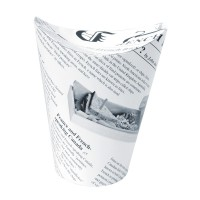 Caixa branca com base redonda com motivo jornal 350ml Ø86mm  H139mm