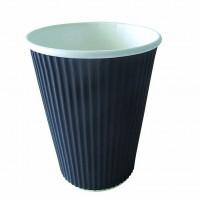 """Rippley"" black rippled wall coffee cup 340ml Ø90mm  H107mm"