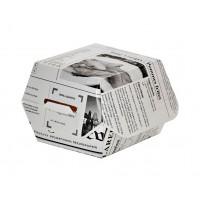 Mini caixa branca com impressão motivo jornal  75x75mm H50mm