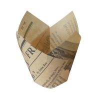 Papel para assar forma tulipa motivo jornal  Ø30mm  H60mm