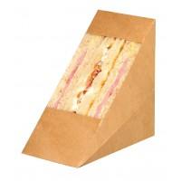 Embalagem triangular Kraft com janela para sanduíches  72x123mm H123mm