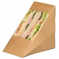 Embalagem triangular Kraft com janela para sanduíches  85x125mm H125mm