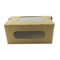 Caixa Kraft marrom para saladas com duas janelas PLA 1100ml 152x135mm H65mm