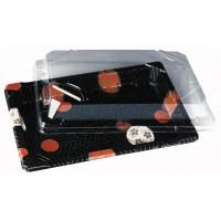 Barquette sushi rectangulaire plastique décor 'Kamon'  180x125mm H18mm